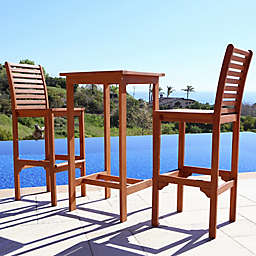 Vifah Classic 3-Piece Wood Bar Set in Natural