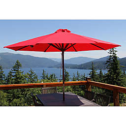 9-Foot Wood Classic Umbrella in Red