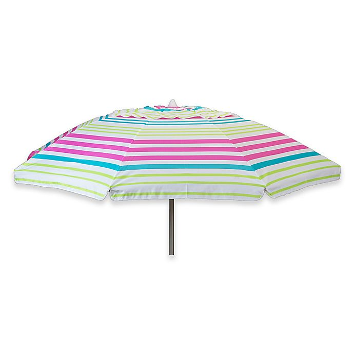 Alternate image 1 for 7-Foot Stripe Beach Umbrella in Pink