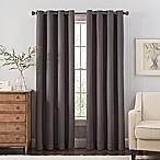 Reina 84-Inch Grommet Top Window Curtain Panel in Black/Silver