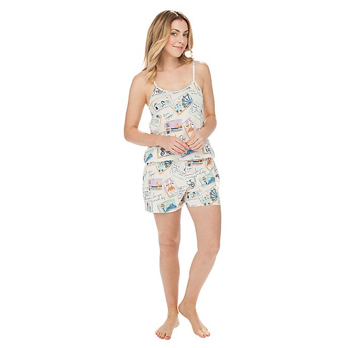 Alternate image 1 for Postcards From Abroad Small 2-Piece Cami Top and Short Romper Set in Ivory