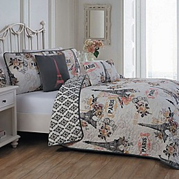 Cherie Reversible Quilt Set in Coral
