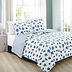 Great Bay Home Bali King Quilt Set in Blue