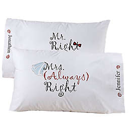 Mr And Mrs Right Pillowcase Pair
