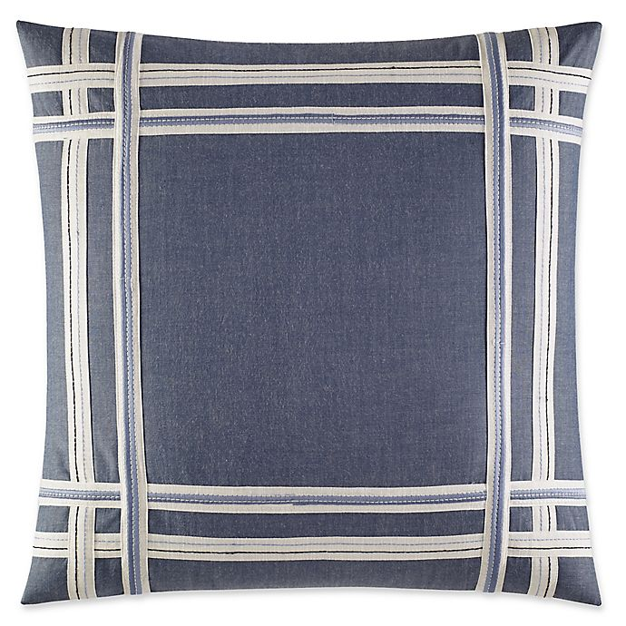 Alternate image 1 for Fairwater Embroidered Tape Throw Pillow in Medium Blue