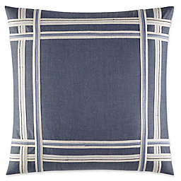 Fairwater Embroidered Tape Throw Pillow in Medium Blue