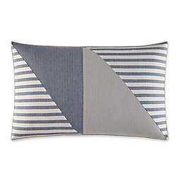 Fairwater Pieced Geometric Throw Pillow in Medium Blue/Grey