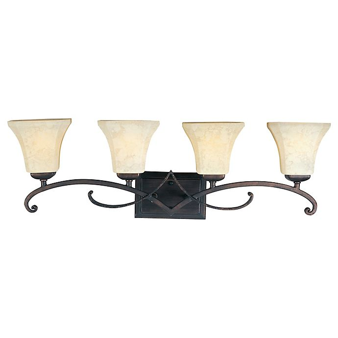 Alternate image 1 for Oak Harbor 4-Light Wall-Mount Vanity Light in Brown with Frost Lichen Glass Shades