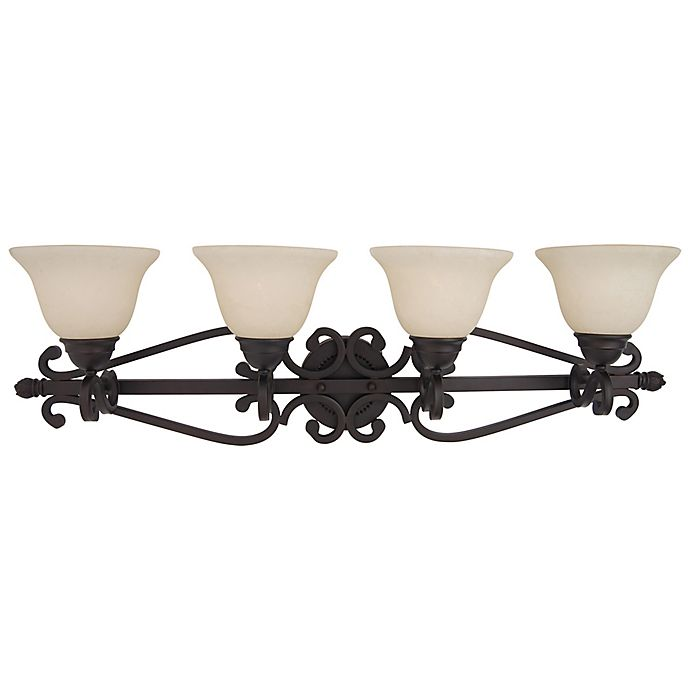 Alternate image 1 for Manor 4-Light Wall-Mount Vanity Light in Oil Rubbed Bronze with Frosted Glass Bell Shades