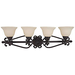 Manor 4-Light Wall-Mount Vanity Light in Oil Rubbed Bronze with Frosted Glass Bell Shades