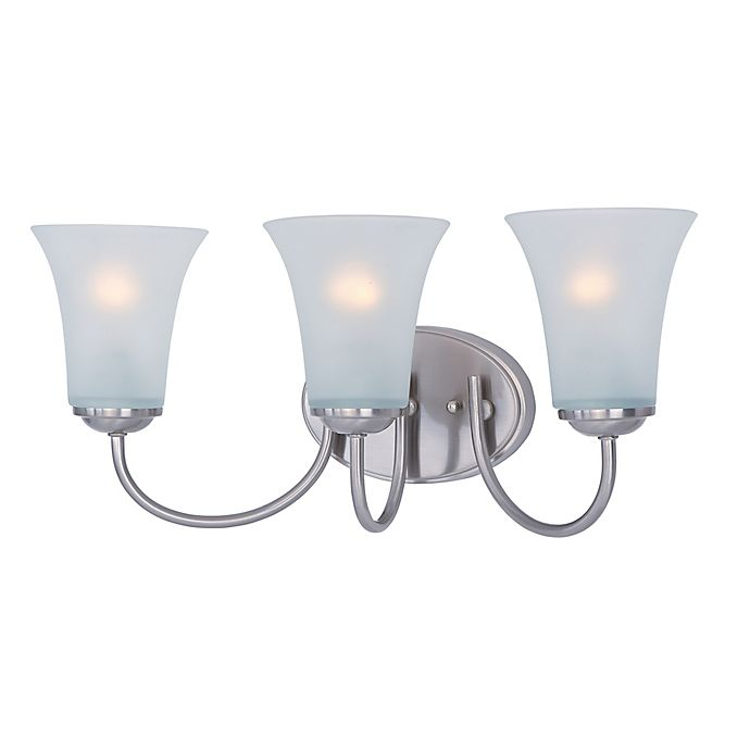 Alternate image 1 for Logan 3-Light Wall-Mount Vanity Light in Satin Nickel with Frosted Glass Shades