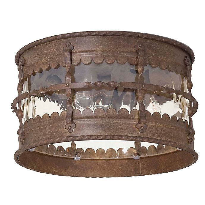 Alternate image 1 for Minka Lavery® Mallorca™ Flush-Mount Outdoor 3-Light Lantern in Rust
