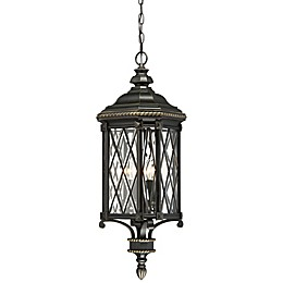 The Great Outdoors® Bexley Manor Chain-Mount 4-Light Outdoor Lantern in Black/Gold