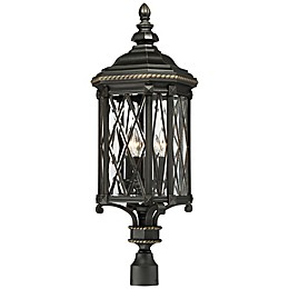 The Great Outdoors® Bexley Manor Post-Mount 4-Light Outdoor Lantern in Black/Gold