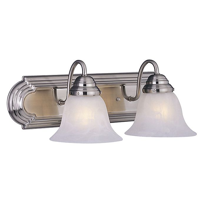 Alternate image 1 for Maxim Lighting Essentials 2-Light Wall Mount Vanity Light in Satin Nickel with Marble Glass Shades