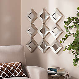 Southern Enterprises 29.5-Inch Masada Mirrored Squares Wall Sculpture in Silver