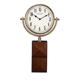 Bulova Park Avenue Hardwood Base Table Clock in Brown Cherry