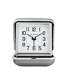 Bulova Traveler Clam Shell Travel Clock in Silver