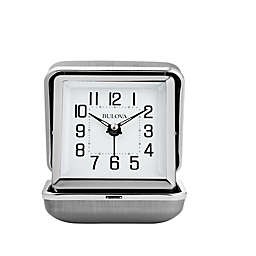 Bulova Traveler Clam Shell Travel Clock in Silver
