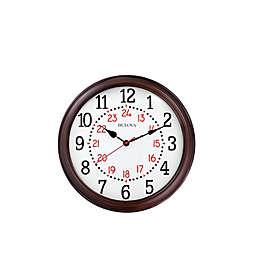Bulova Station Master Wood Case Wall Clock in Cherry Finish