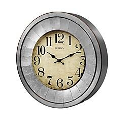 Bulova Industrial Galvanized Aged Wall Clock in Silver