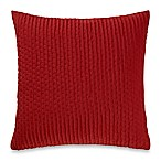 Make-Your-Own-Pillow Ticker Stitch Square Throw Pillow Cover in Dark Red