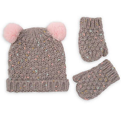 Rising Star™ 2-Piece Confetti Yarn Hat and Mitten Set in Grey