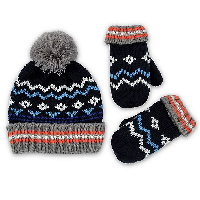 Rising Star 2 Piece Fair Isle Hat And Mitten Set In Blue Buybuy