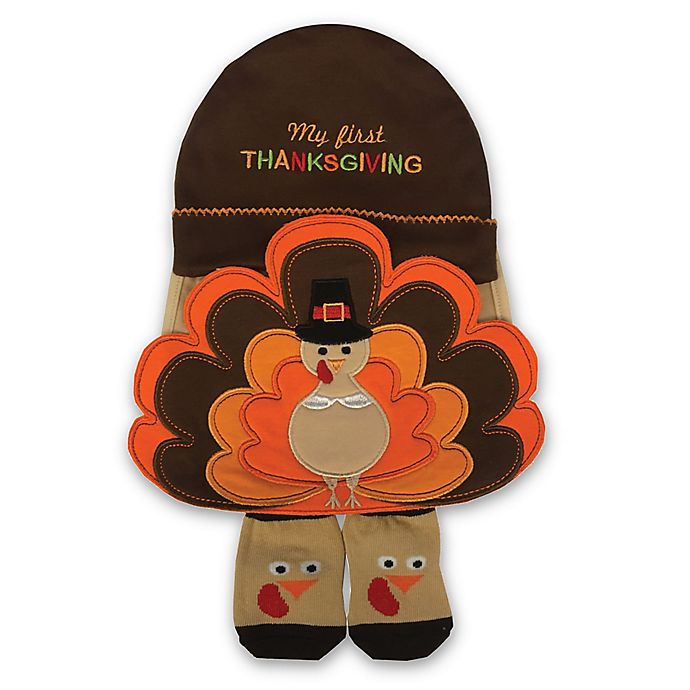 Alternate image 1 for Little Me® Size 0-6M 3-Piece Thanksgiving Hat, Bib and Bootie Set