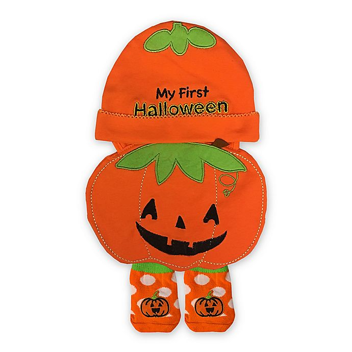 Alternate image 1 for Little Me® Size 0-12M 3-Piece Halloween Hat, Bib and Bootie Set