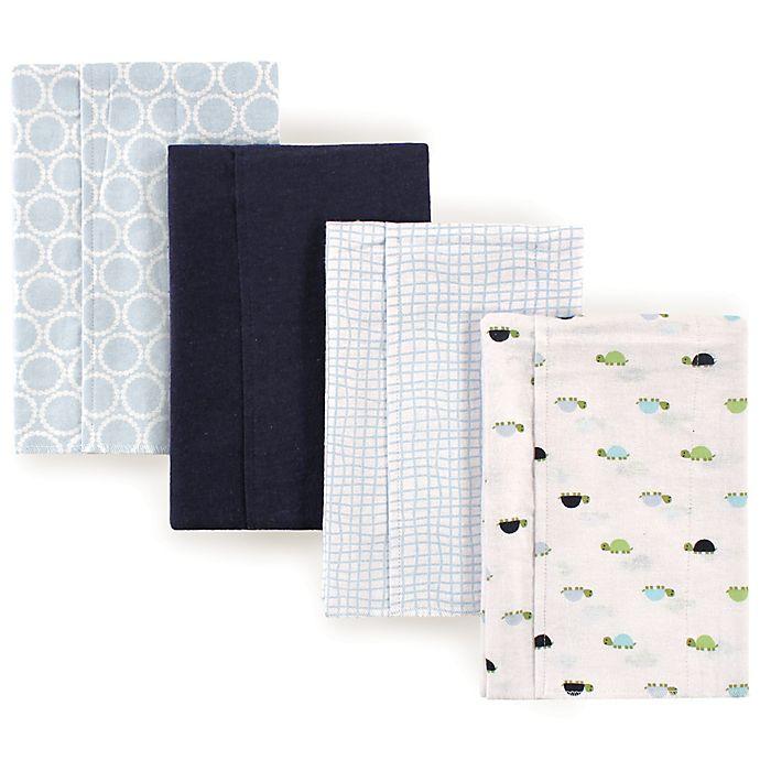 Alternate image 1 for Luvable Friends® 4-Pack Turtle Burp Cloth Set in Blue