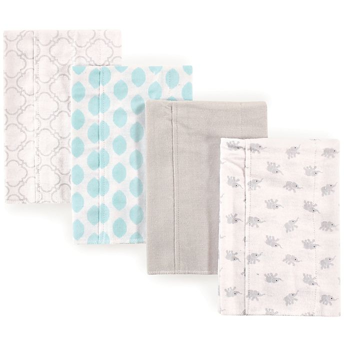 Alternate image 1 for Luvable Friends® 4-Pack Elephant Burp Cloth Set in Teal