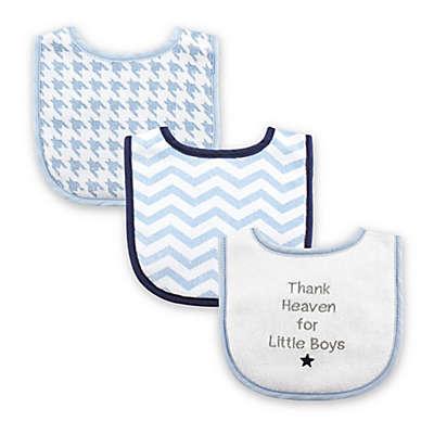 "Luvable Friends® 3-Pack ""Thank Heaven for Little Boys"" Drooler Bib Set in Blue"