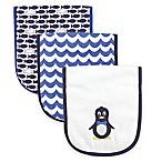 Luvable Friends® 3-Pack Mr. Penguin Burp Cloth Set in Blue