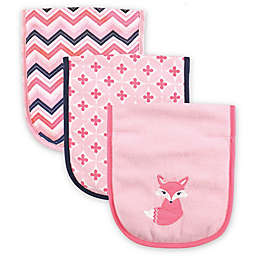 Luvable Friends® 3-Pack Foxy Burp Cloth Set in Pink