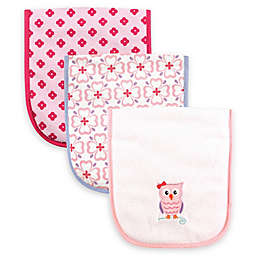 Luvable Friends® 3-Pack Owl Burp Cloth Set in Pink