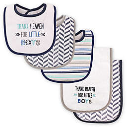 "Luvable Friends® 5-Pack ""Thank Heaven for Little Boys"" Bib and Burp Cloth Set in Blue"