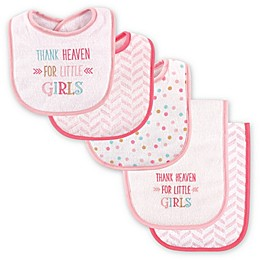 "Luvable Friends® 5-Pack ""Thank Heaven for Little Girls"" Bib and Burp Cloth Set in Pink"