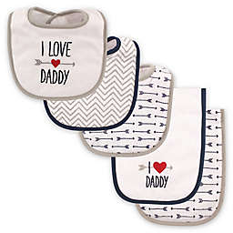 "Luvable Friends® 5-Pack ""I Love Daddy"" Bib and Burp Cloth Set in Blue"
