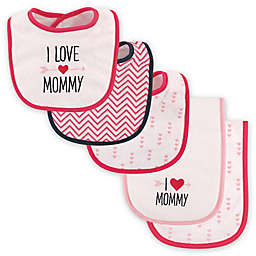 "Luvable Friends® 5-Pack ""I Love Mommy"" Bib and Burp Cloth Set in Pink"