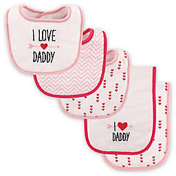 "Luvable Friends® 5-Pack ""I Love Daddy"" Bib and Burp Cloth Set in Pink"