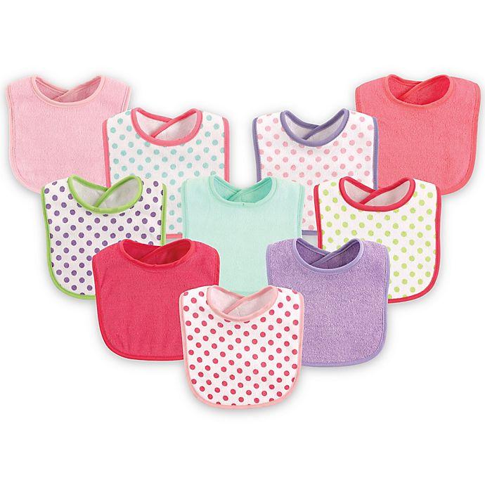 Alternate image 1 for Luvable Friends® 10-Pack Dots Drooler Bib Set in Pink