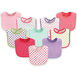 Luvable Friends® 10-Pack Dots Drooler Bib Set in Pink
