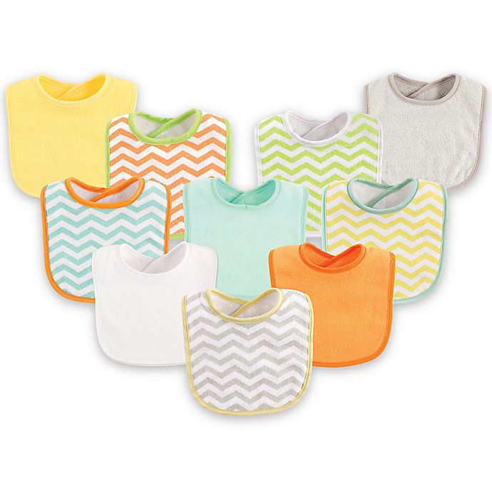 Alternate image 1 for Luvable Friends® 10-Pack Chevron Drooler Bib Set in Yellow