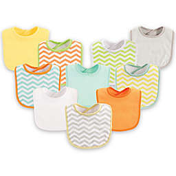 Luvable Friends® 10-Pack Chevron Drooler Bib Set in Yellow