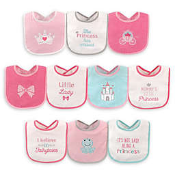Luvable Friends® 10-Pack Princess Drooler Bibs with PEVA Back in Pink