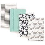 Hudson Baby 4-Pack Whale Burp Cloth Set in Teal