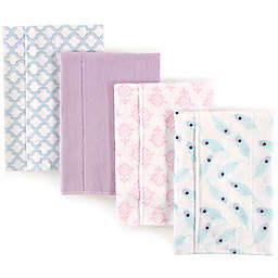 Hudson Baby 4-Pack Feather Burp Cloth Set in Purple