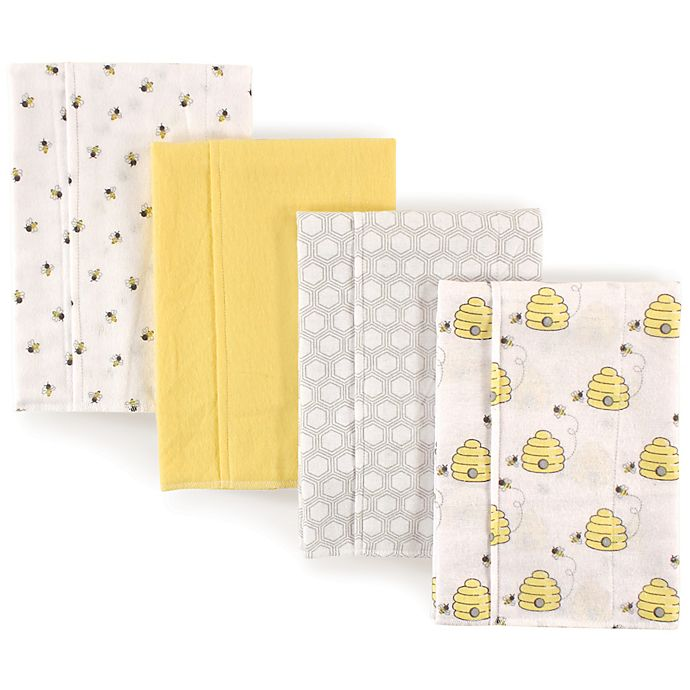 Alternate image 1 for Hudson Baby 4-Pack Bees Burp Cloth Set in Yellow