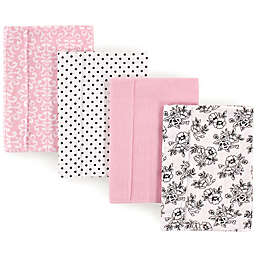 Hudson Baby 4-Pack Toile Burp Cloth Set in Black